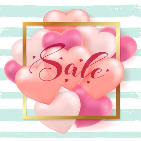 Decorative green striped background for Valentines day sale with red and pink heart balloons and golden frame. Vector illustration. Ilustração