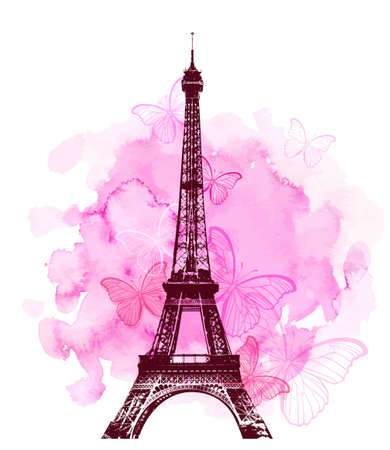 Pink watercolor romantic Valentine background with Eiffel Tower and butterfly. Vector illustration.  Illustration