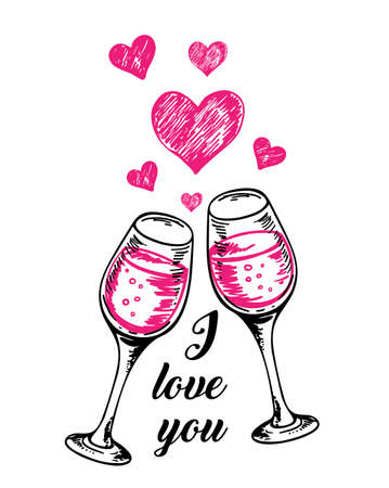 Valentine greeting card with two glasses of red wine and hearts on a white background. Hand drawn vector illustration