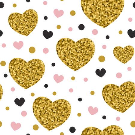 Decorative festive seamless pattern with golden glitter hearts. Vector background for Valentines day Ilustração