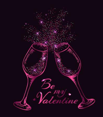 Valentine greeting card with two pink glittering glasses of champagne on a black background. Vector illustration Ilustração