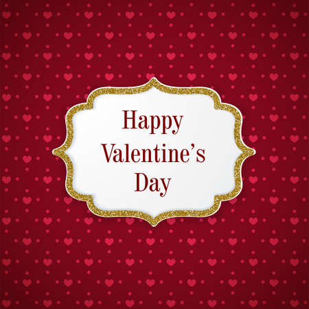 Red vintage Valentine greeting card with hearts and golden frame. Romantic vector background