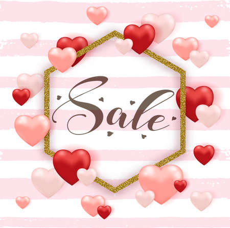Decorative striped background for Valentines day sale with red and pink heart balloons and golden frame. Vector illustration.