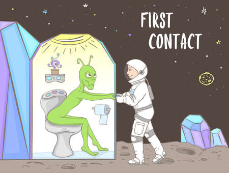 Green alien sitting on the toilet and astronaut breaking the door on an unknown planet. Stupid situation during first contact with other alien civilizations. Hand drawn vector illustration.