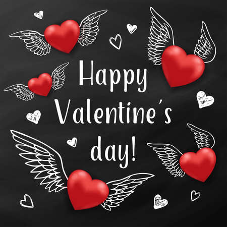 Holiday background with flying red hearts on a black chalkboard. Greeting card for Saint Valentines day. Vector illustration.