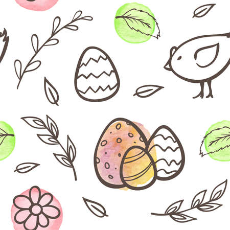 Hand drawn doodle Easter seamless pattern with eggs and chicken on a white background. Vector illustration.