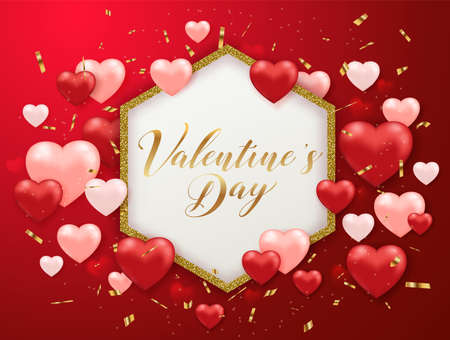 Saint Valentines day greeting card with confetti and hearts on a red background. Golden glittering frame with lettering. Vector illustration.