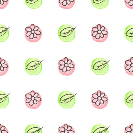 Hand drawn doodle spring floral seamless pattern with flowers, leaves and watercolor blobs. Decorative vector background