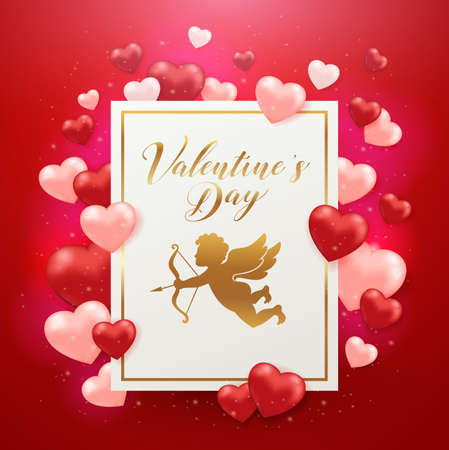 Saint Valentines day greeting card with hearts on a red background. Golden glittering frame with lettering and cupid. Vector illustration.