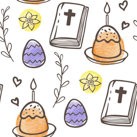Hand drawn doodle Easter seamless pattern with eggs, cake and Bible on a white background. Vector illustration. Ilustração