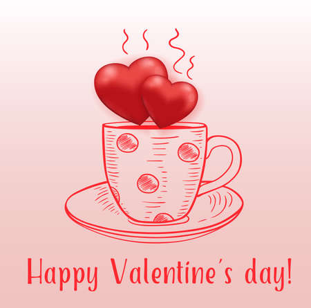 Coffee cup with red hearts on a pink background. Greeting card for Valentines day. Hand drawn vector illustration.