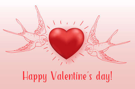 Couple of flying birds and red heart. Greeting card for Saint Valentines day. Hand drawn vector illustration.