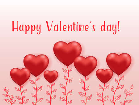 Red hearts flowers on a pink background. Greeting card for Saint Valentines day. Hand drawn vector illustration.