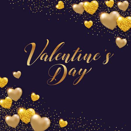 Decorative Valentine background with shining golden glittering hearts. Vector illustration.