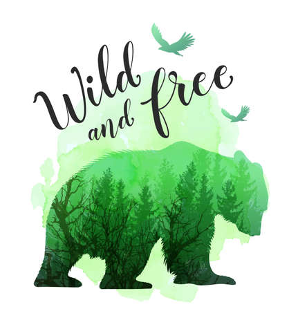 Green silhouette of a wild bear, tree and calligraphy. Wild life in nature. Vector illustration with green watercolor texture. Иллюстрация