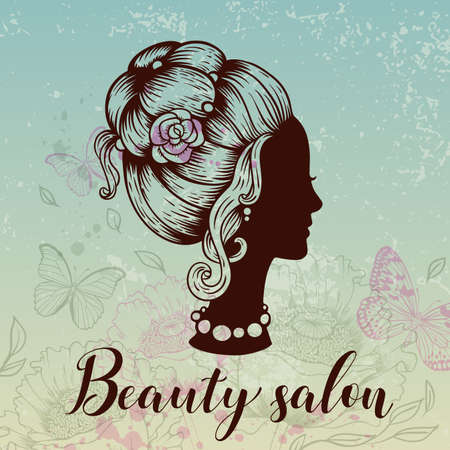 Silhouette of a female head, butterflies and flowers on a green background. Vintage style. Hand drawn vector illustration. Design for beauty salon.