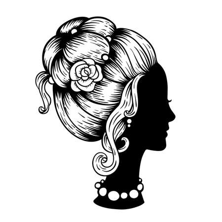 Black silhouette of a female head with a beautiful hairstyle on a white background. Vintage style. Hand drawn vector illustration.