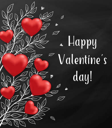 Floral holiday background with red hearts and leaves on a blackboard. Greeting card for Saint Valentines day. Hand drawn vector illustration.