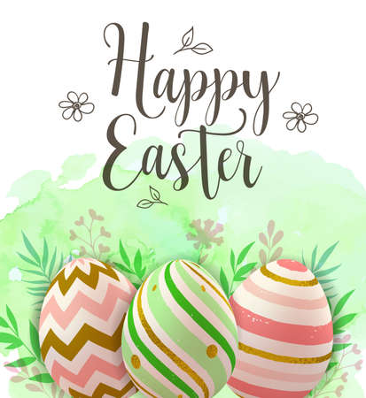 Easter greeting card with decorative eggs on a green watercolor background. Vector illustration. Happy Easter lettering Imagens - 124948538