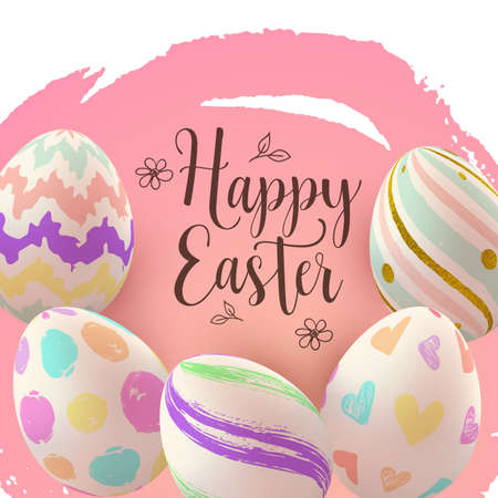 Easter greeting card with hand painting eggs on a pink background. Vector illustration. Happy Easter lettering
