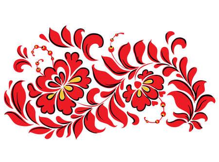 Traditional Ukrainian decorative red floral design element on a white background. Vector illustration