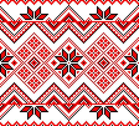 Ornamento inconsútil rojo decorativo tradicional ucraniano sobre un fondo blanco. Ilustración vectorial