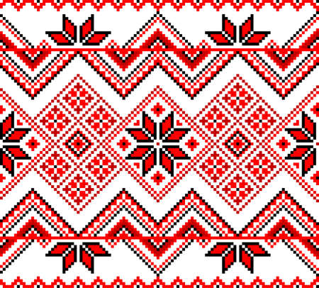 Traditional Ukrainian decorative red seamless ornament on a white background. Vector illustration