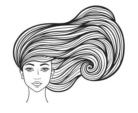 Bella ragazza con lunghi capelli ricci su sfondo bianco. Illustrazione vettoriale disegnato a mano.