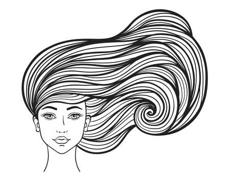 Hermosa chica con pelo largo y rizado sobre un fondo blanco. Ilustración de vector dibujado a mano.