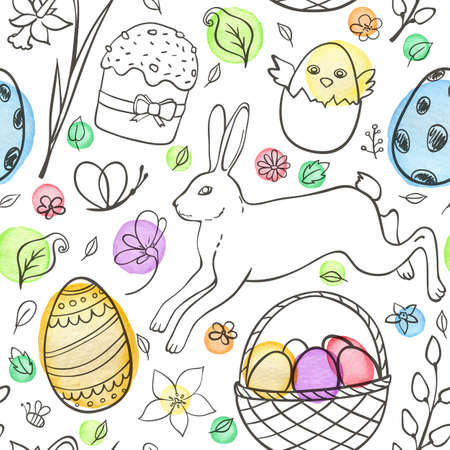 Hand drawn doodle Easter seamless pattern with eggs, rabbit and chicken on a white background. Vector illustration.