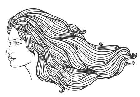 Beautiful young girl with long curly hair on a white background. Hand drawn vector illustration.