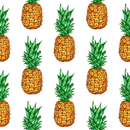 Hand drawn tropical vector seamless pattern with pineapple on a white background. Иллюстрация