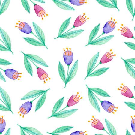 Reticolo senza giunte floreale dell'acquerello con fiori viola e rosa. Sfondo di natura disegnata a mano
