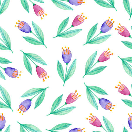 Watercolor floral seamless pattern with violet and pink flowers. Hand drawn nature background