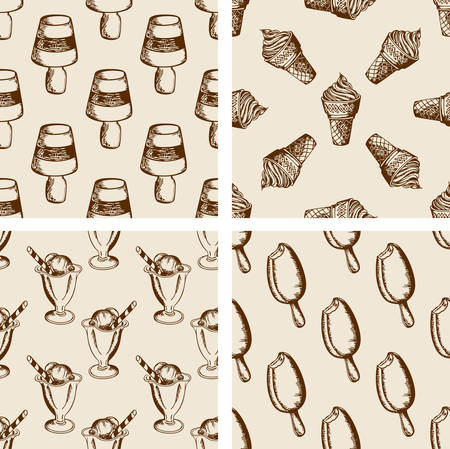 Vintage seamless patterns with different ice cream. Hand drawn vector backgrounds 矢量图像