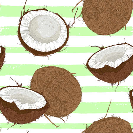 Seamless pattern with coconuts and green palm leaves on a white background. Vector illustration