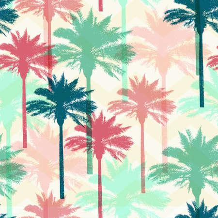 Tropical summer seamless pattern with coconut palms. Vector background