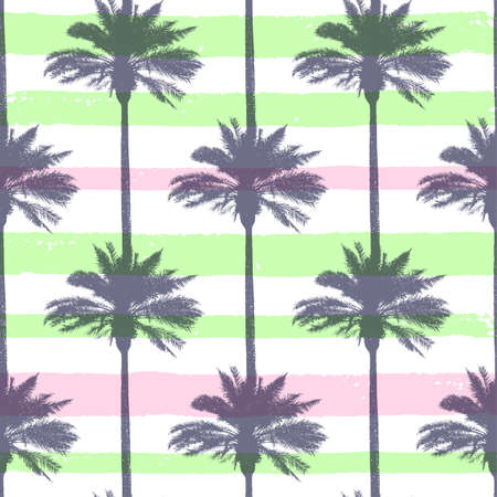 Tropical summer seamless pattern with coconut palms and strips. Vector background