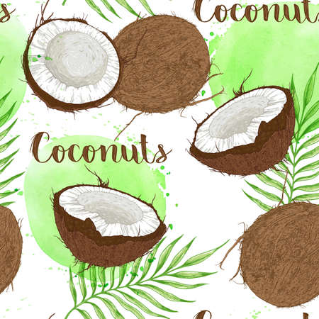 Seamless pattern with coconuts, palm leaves and green watercolor blots on a white background. Vector illustration