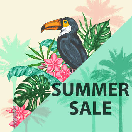 Tropical background with green palm leaves, flowers and toucan.  Design for seasonal summer sale. Hand drawn vector illustration