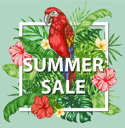 Tropical frame with green palm leaves, flowers and red parrot.  Design for seasonal summer sale. Hand drawn vector illustration