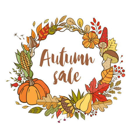 Hand drawn vector doodle autumn banner for seasonal sale. Autumn background with pumpkins, leaves and forest mushrooms. Çizim
