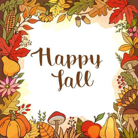 Hand drawn vector doodle autumn background with pumpkins, fruits, leaves and mushrooms. Seasonal floral frame
