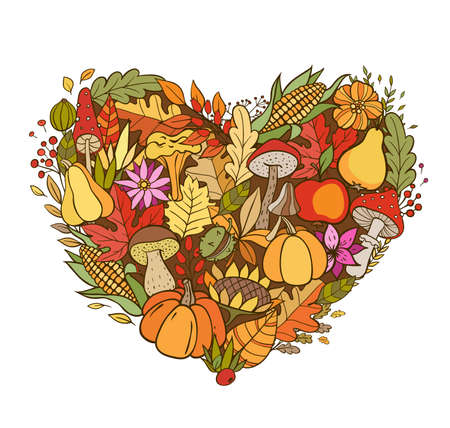 Hand drawn vector doodle heart shaped autumn background. Seasonal fall banner with pumpkins, leaves and ripe fruits.