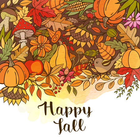 Hand drawn vector doodle autumn background with pumpkins, leaves and mushrooms