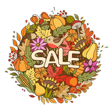 Hand drawn vector doodle autumn banner for seasonal sale. Autumn background with pumpkins, leaves and ripe fruits.