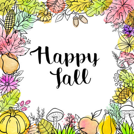 Hand drawn vector doodle autumn background with pumpkins, fruits, leaves and mushrooms. Seasonal floral frame with watercolor texture
