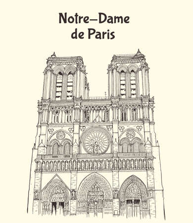 Notre Dame de Paris Cathedral in France. Hand drawn vector illustration
