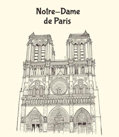 Notre Dame de Paris Cathedral in France. Hand drawn vector illustration