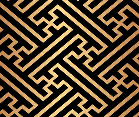 Decorative abstract geometrical golden seamless pattern on a black background. Traditional oriental ornament. Vector illustration.